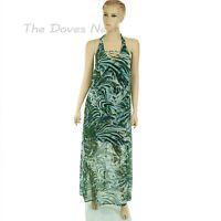 JENNIFER LOPEZ Size 8 GREEN Palm Leaf Print SHEER OVERLAY Halter Neck MAXI DRESS