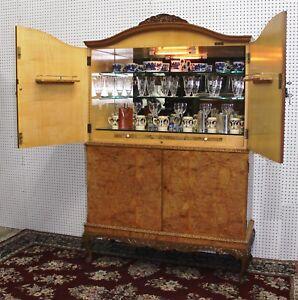 Antique Carved Queen Ann Burl Walnut Four Door Art Deco Bar Cabinet Circa 1930