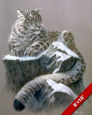 RESTING SNOW LEOPARD WILD CAT ANIMAL PAINTING WILDERNESS ART REAL CANVAS PRINT