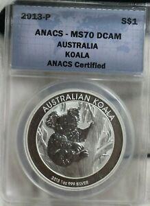 2013-P S$1 Silver Australian Koala, ANACS, MS70 DCAM