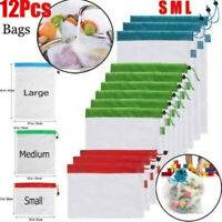 12 Pcs Reusable Mesh Produce Bags Grocery Fruit Vegetable Storage Shopping Eco