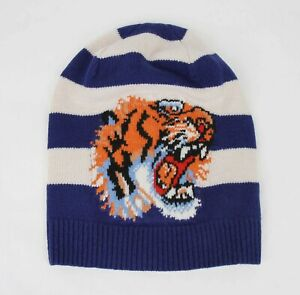 Gucci Blue/White Striped Wool Knit Beanie Hat with Tiger Head M/58 500929 4278
