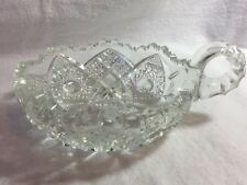 Vintage Glass Dish With Handle. Marked UNCUT On The Bottom. Great Gift.