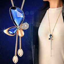 Crystal Statement Butterfly Tassel Long Necklace Women Gold Plated Pendant