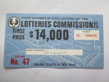 LOTTERIES COMMISSION SOUTH AUST c1967 50 c TICKET LOTTERY No 47 TICKET No 00001