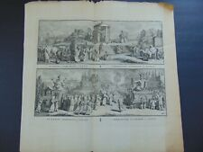 LARGE 18th C. ENGRAVING of JAPANESE MARRIAGE & FUNERAL CEREMONIES by B. PICART