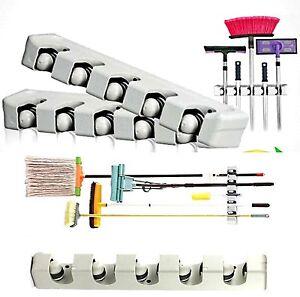 2 Stück Besenhalter mit Haken Gerätehalter Werkzeugleiste Werkzeughalter Besen