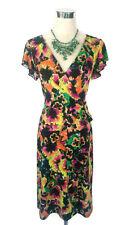LEONA EDMISTON Dress - Floral Pansy Vintage Style Pink Green Yellow Orange - 8/S