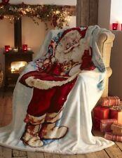 Noël SHERPA Couverture polaire Père Noël 130cms x 170cms
