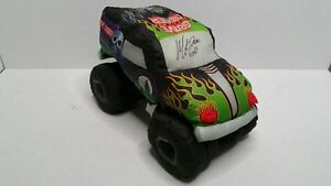 Monster Jam Grave Digger Plush Pillow Toy 2015 Autographed 14""