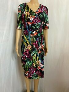 ANTHEA CRAWFORD SIZE 12  FLORAL SHORT SLEEVE DRESS STRETCH FABRIC