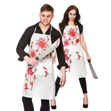 Unisex Halloween Horror Bloody Butchers Apron Fancy Dress Zombie Cooks Apron New