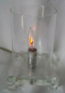 """Crystal and Clear Glass Table Lamp With Bulb Flickers like Flame """"Trident Home"""""""