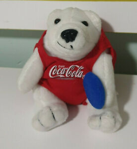COCA COLA BUDDY BEAR RED OUTFIT WITH BLUE FRISBEE 11CM COKE BEAR