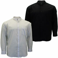 Mens Big Size Cotton Valley Long Sleeve Plain Granddad Collar Shirt 3XL 5XL 6XL
