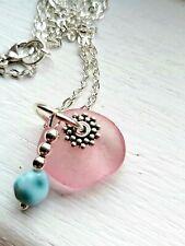 Pink sea glass pendant & larimar bead silver necklace