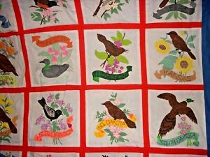 1976 VTG Hand Painted American State Birds Flowers Quilt Top Wall Hanging 108x76