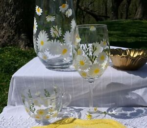 Hand Painted Wine Glass, Coffee/Tea Cup, Flower Vase White & Yellow Spring Daisy