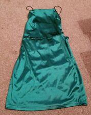 Para Mujer Verde Esmeralda Seda lisa resistente ajustada Espalda descubierta Vestido Sexy Mini Parry Talla 8
