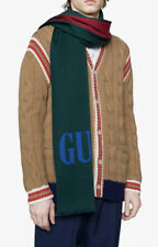 AUTH.GUCCI 2019 SS LANA WOOL RED BLUE GREEN SCARF NEW