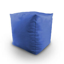Royal Blue Cotton Filled Bean Bag Cube Foot Stool Pouffe Seat Rest Furniture