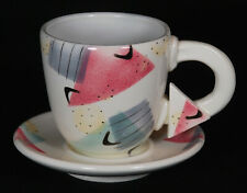 Vintage Rita Duvall Signed Postmodern Memphis Style Cup and Saucer Set From 1981