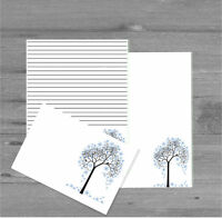Winter Tree Letter Writing Paper and Envelopes Stationary Set, Penpal Gift Set