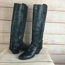 Olathe Black Leather Knee High Riding Shooting Boots Sz 6 AA Women's Cowboy