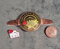 VINTAGE GIRL AND BOY SCOUT PIN FUJI JAPAN CLOISONNE ENAMEL 1977 TIE PIN RARE