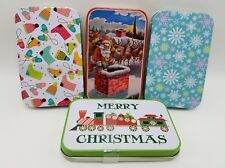 Christmas Gift Card Tins Set 4 Santa Snowflakes Train Mittens Skates Multi-Use
