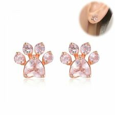 Romantic Shiny Pink Stud Earrings Jewelry Cat Dog Paw Earring Female Piercing UK