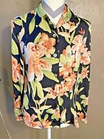 Tommy Bahama Women's Medium Silk Button Down Floral Tropical Long Sleeve Top