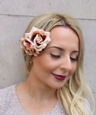 Double Nude Light Brown Rose Flower Hair Clip Rockabilly 1950s Fascinator 2948