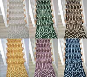 Very Long Stair Rug Bespoke Modern Colours Herringbone Carpet Runner For Stairs