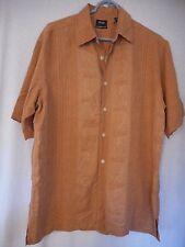 Izod Hawaiian Shirt Size M 100% Washable Silk Destination Wedding Orangey Brown