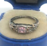 Vintage Sterling Silver Ring 925 Size 4 Pink Sapphire or CZ