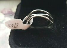 Womens Silver Wavy Size 20 Stainless Steel Ring Girl Gift Ladies Accessorie New
