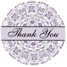 300 LABELS - 10 SHEETS - PURPLE BUTTERFLY DESIGN THANK YOU STICKERS - SEMI GLOSS