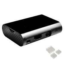 Raspberry Pi 3, Pi 3B+, 2 & B+ Case Gehäuse schwarz Premium + Kühlkörper-Set