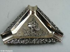 Rotal Dutch Silverworks Speculum Plated Elivezetta Line Ashtray Boxed