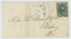 Mr Fancy Cancel CSA 1 FLS NEWBERN NC JAN 1 (1862) CDS TO PETERSBURG IRON AUCTION