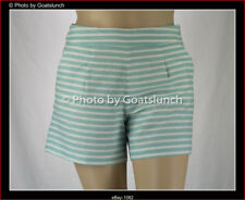 Laura Ashley High Waisted Striped Linen Blend Shorts Size 14 New Without Tags