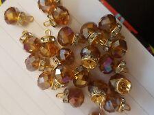 15 mm Elegante Cristal Topacio AB Gem casaca Botón Coser en Joya Diamante de Imitación