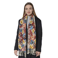 Blue Brown Floral Pattern 100% Wool Scarf Printed Women Wrap with Tassels
