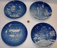 """4 B&G Bing & Grondahl Denmark blue christmas Plates 1983 1984 1985 1986 7.25"""""""