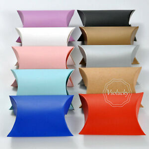 50 - 200pcs Candy Boxes Pillow Favor Gift Box Wedding Party Favour Kraft Paper