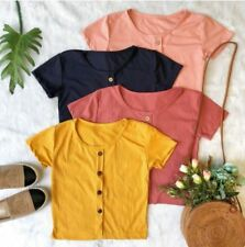 Crop Top With Buttons F3 (Mustard Yellow)