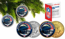 SAN DIEGO CHARGERS Colorized JFK Half Dollar 2-Coin Set NFL Christmas Ornaments