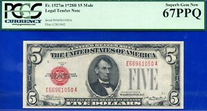 FR-1527m 1928-B $5 US Note (( Mule )) PCGS Superb-Gem 67EPQ # E66961050A.