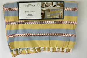 """Threshold Country Kitchen Table Runner w/ Fringe 14x72"""" 100% Cotton Yellow Blue"""